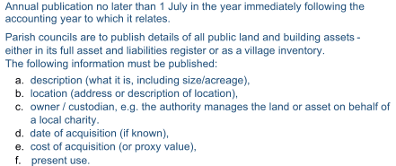 Annual publication no later than 1 July in the year immediately following the  accounting year to which it relates.    Parish councils are to publish details of all public land and building assets  -   either in its full asset and liabilities register or as a  village inventory.    The following information must be published:    a.   description (what it is, including size/acreage),    b.   location (address or description of location),    c.   owner   / custodian, e.g. the authority manages the land or asset on behalf of  a local charity.        d.  date of acquisition (if known),   e.   cost of acquisition (or proxy value),    f. present use.